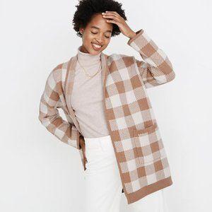 MADEWELL NEW Minetta Buffalo Check Sweater Coat